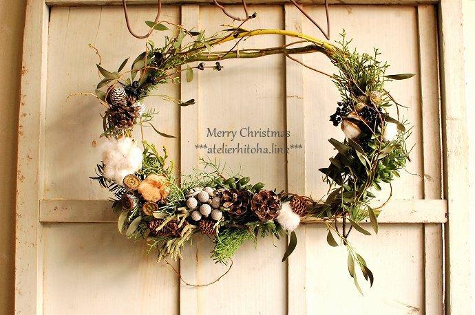 ひと葉のクリスマスウィーク「ベースから作るクリスマスリースのWS」 @ atelierひと葉