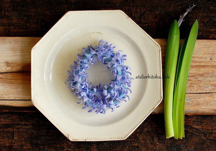 早春の花ヒヤシンスのリースのWS @ atelierひと葉