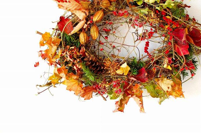 秋の里山リースのWS @ atelierひと葉