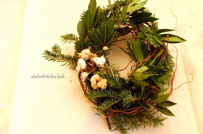 Winter Herb Wreathのワークショップ @ atelierひと葉